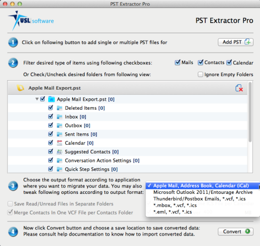import pst file to Thunderbird